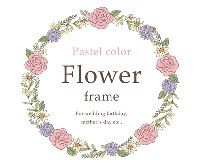 Pastel color flower frame