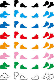 Shoe shoes illustration material set icon