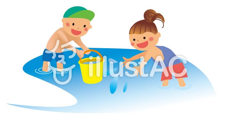 かわいい水遊びイラスト No 722095無料イラストならイラストac