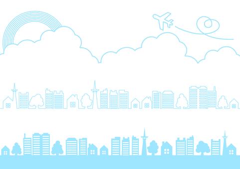 푸른 하늘과 비행기와 나무와 무지개의 라인 프레임 프레임