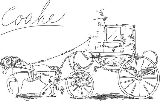 馬車の線画1
