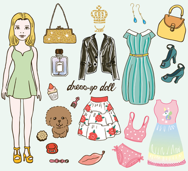 Dress-up doll fashion illustration