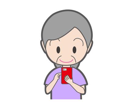 Female senior who manipulates smartphone