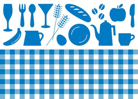 Kitchen Check Pattern Icon Blue