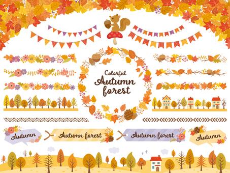 秋天的落葉和樹線套