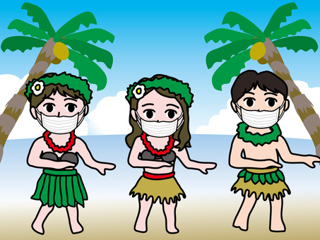 Infection control 36 Hula dance on the beach with a mask