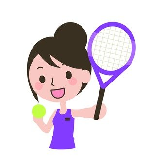 A woman with a racket and a ball