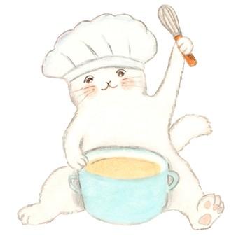 요리를 만들고있는 고양이
