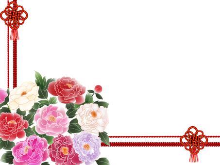Peony flower frame