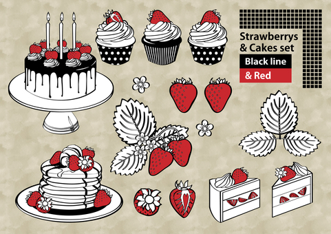 A variety of cakes and cakes set Line style white red and white