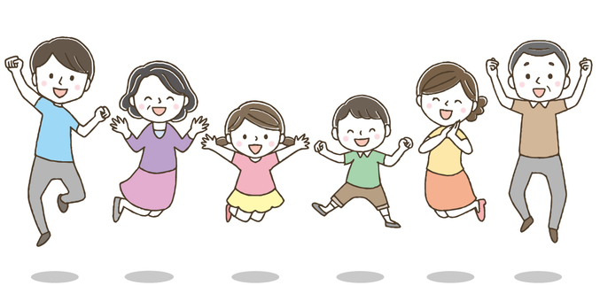 Cute 3 generation family jumping / hand-drawing