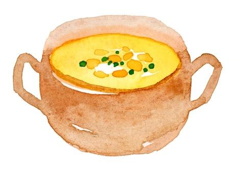 コーンスープ水彩手描き