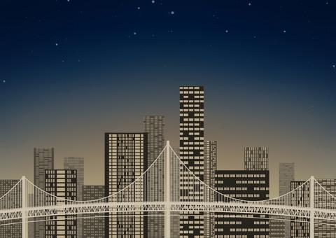 Suspension bridge and night view