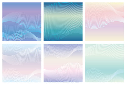 Wave pattern square background set