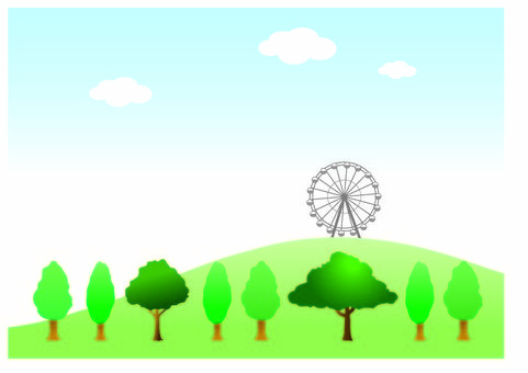 Hill, trees, blue sky and Ferris wheel