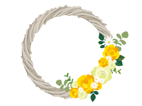Yellow rose wreath illustration 2