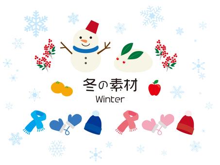 雪だるまと雪うさぎの冬イラスト素材
