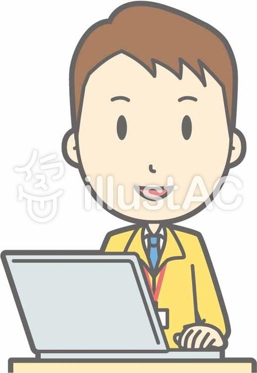 男性スタッフa-PC笑顔-バストのイラスト