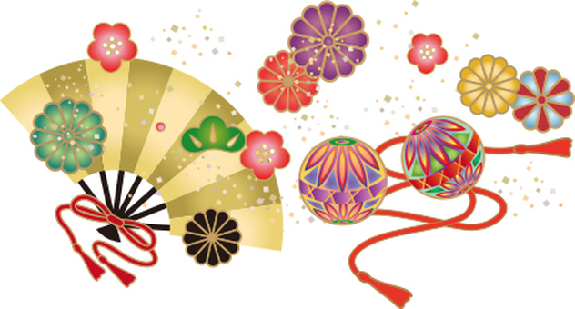 Japanese pattern of fan and fan and chrysanthemum