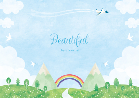 Summer background frame 007 rainbow watercolor early summer