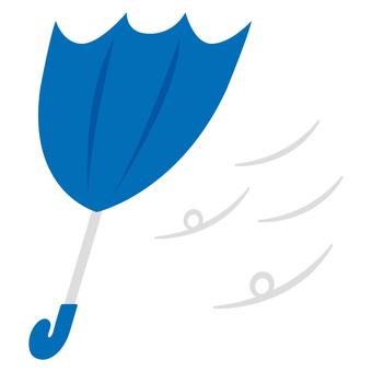 ひっくり返る傘