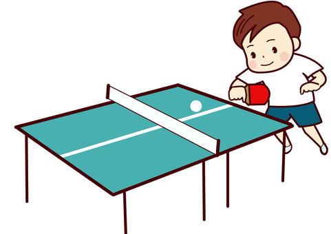 卓球台と少年