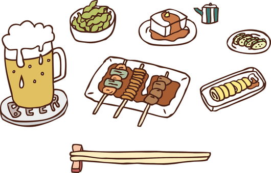 Beer and snack set color