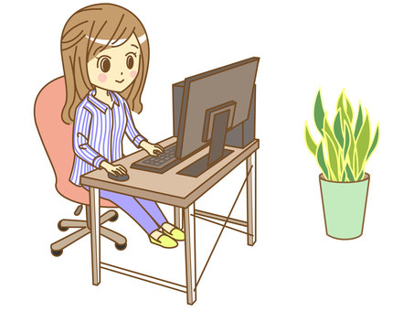A woman using a personal computer