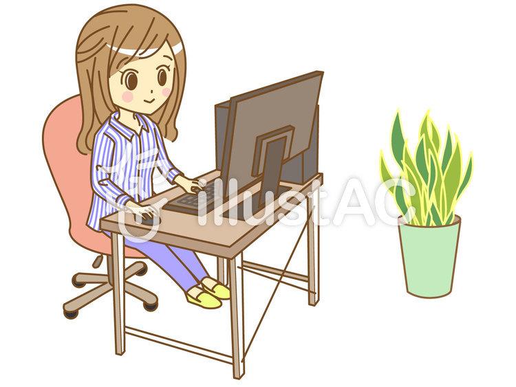 パソコンを使っている女性のイラスト
