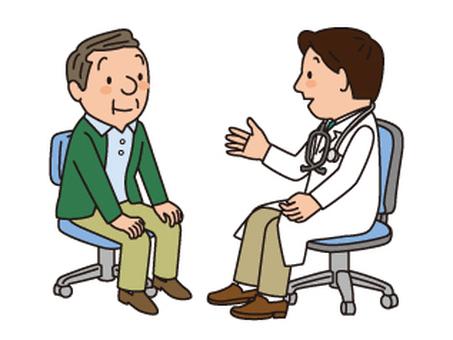 의사와 노인 남성