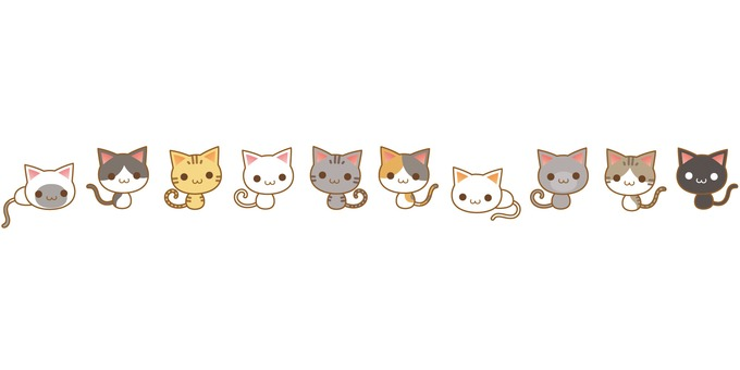 Cat characters with various patterns side by side