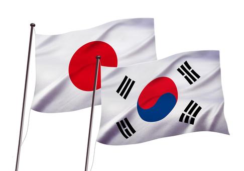 日本と韓国の国旗イメージ