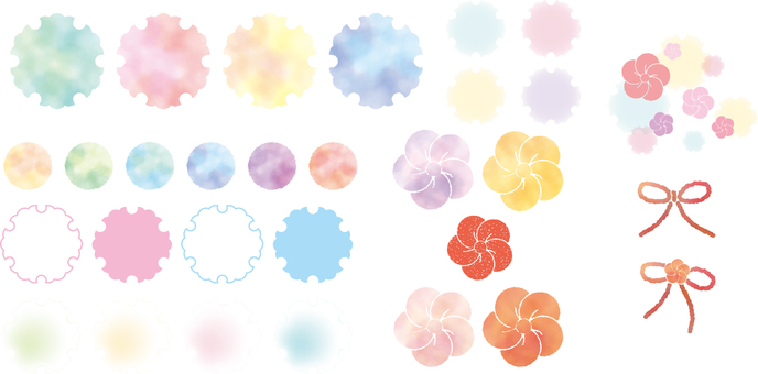 Japanese style parts of watercolor style