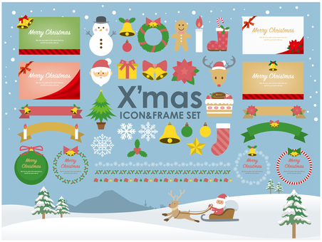Xmas icon & frame SET