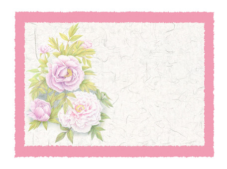 Peony and Japanese paper card ★ 0070-F
