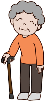 【Elderly】 Grandma of T-shaped cane