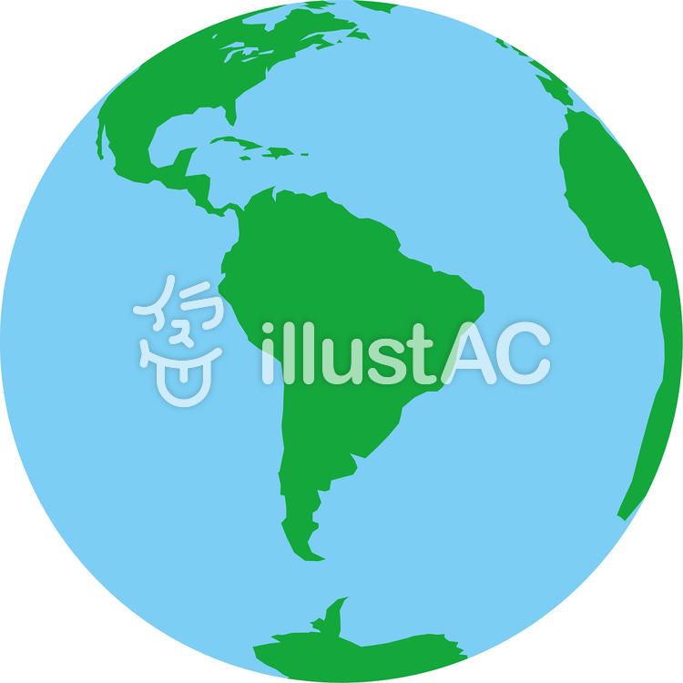 正射図法世界地図-南アメリカ中心のイラスト