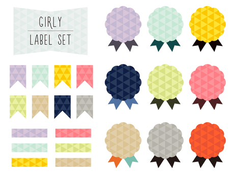 Set of girly label materials (triangles)