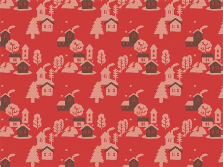 冬の街パターン 森 赤