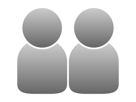People icon (2 people) Gray gradation