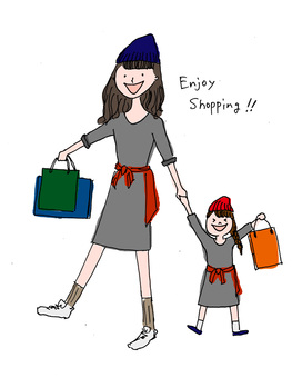 Mom child shopping