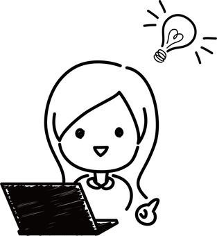 Hand drawn rough-laptop-woman solution
