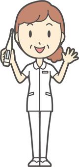 中年婦女護理白大衣-286-全身