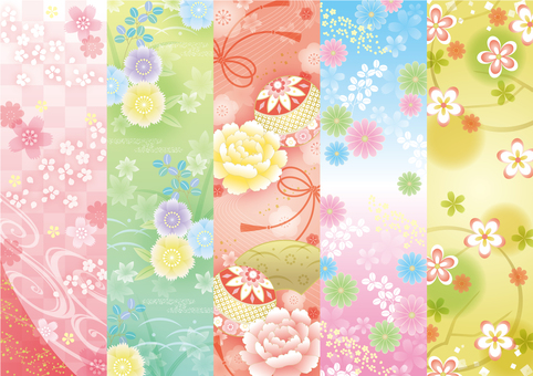 Five Japanese patterns 5 types Portrait