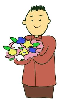 Men with bouquet