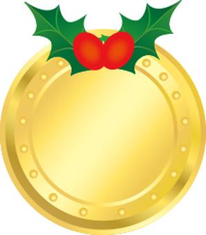 크리스마스 메달 프레임 금