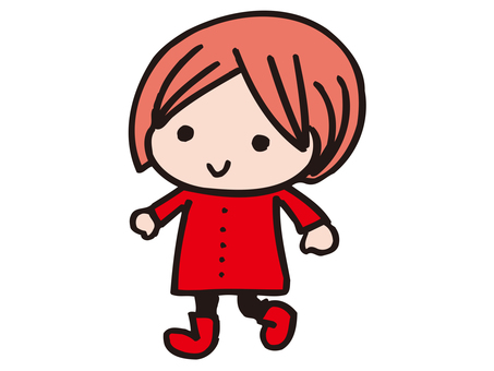 A girl in red clothes