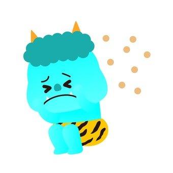Blue Ogre sitting in beans thrown