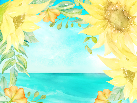 Watercolor hand-painted sunflower and sea frame