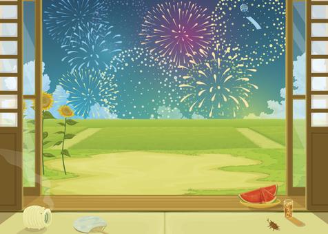 Fireworks and rim side background illustration